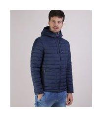 jaqueta masculina em nylon com capuz e bolsos azul marinho