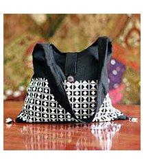 cotton sling tote, 'diamond light' (india)