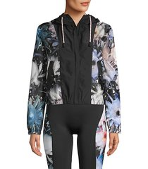 floral windbreaker hooded jacket