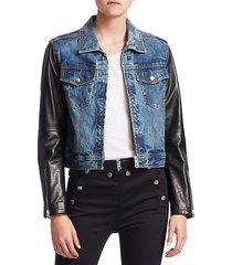 nico leather & denim crop jacket