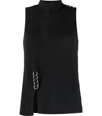 diesel ring-detail rib knit top - black