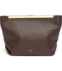 'augusta' metal clasp leather crossbody bag