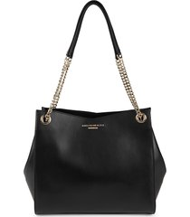 bruno magli women's large leather chain shoulder bag - black
