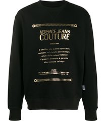 versace jeans couture logo-print relaxed-fit sweatshirt - black