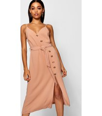 button front woven cami dress, nude