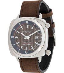briston watches clubmaster diver yachting steel watch - brown