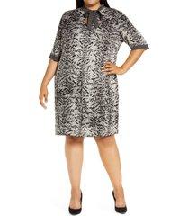 plus size women's ming wang tie neck knit sheath dress, size 1x - grey