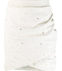 philipp plein star studded skirt - white