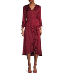 ted baker london women's polka dot-print ruched-front dress - oxblood - size 3 (8)