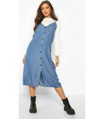 denim chambray button through midi dress, light blue