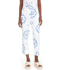 women's simone rocha delft embroidered paperbag waist trousers