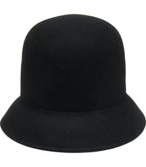 nina ricci felted cloche hat - black