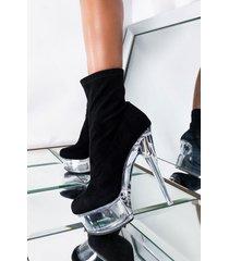 akira azalea wang on the clock stiletto heel bootie in black suede