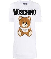 moschino teddy bear motif sweatshirt dress - white