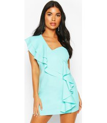 petite one shoulder frill bodycon dress, aqua