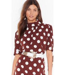 womens sorry is dot enough high neck blouse - chocolate