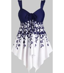 floral cinched front flounced handkerchief plus size tankini swimwear