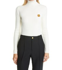 women's kenzo tiger crest rib merino wool turtleneck sweater, size x-large - ivory