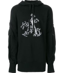 ann demeulemeester blanche strap detail a print hoodie - black