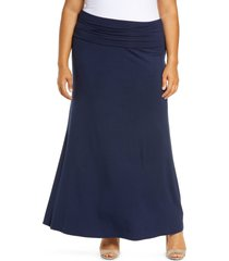 plus size women's loveappella fold over maxi skirt, size 3x - blue