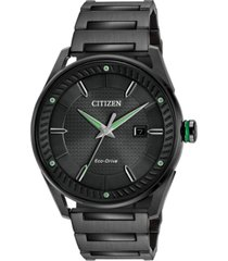 citizen drive from citizen eco-drive men's black ion-plated stainless steel bracelet watch 42mm bm6985-55e