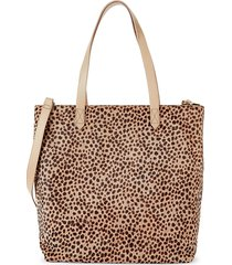madewell women's medium transport leopard-print calf hair tote - driftwood