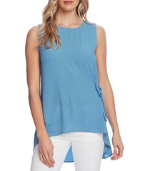 petite women's vince camuto side tie sleeveless high low blouse, size small p - blue