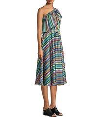 rainbow stripe one-shoulder dress