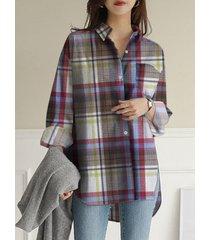 camicetta con taschino a maniche lunghe con risvolto ampio e stampa scozzese