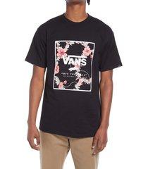 men's vans men's floral print box logo graphic tee, size large - black