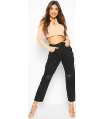 high rise distressed mom jeans, black