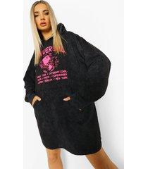 acid wash gebleekte universal hoodie jurk, charcoal