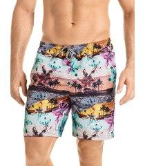 pantaloneta verano silueta corta hawai para hombre-azul aguamarina