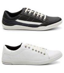 kit 2 pares sapatênis masculino tênis estilo casual conforto preto e branco 44