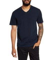 men's vince regular fit garment dyed v-neck t-shirt, size x-large - blue