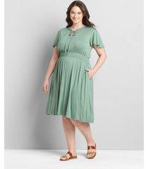 lane bryant women's flutter-sleeve shirred-waist fit & flare dress 34/36 lush palm