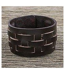 leather wristband bracelet, 'moto chic in brown' (thailand)