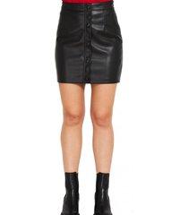 mini falda ecocuero botones decorativos negro nicopoly
