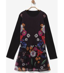 multilayer floral dress - black - 13/14