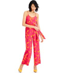 bar iii printed tie-front jumpsuit, created for macy's