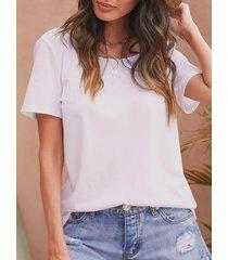 yoins basics camiseta blanca sin espalda cruzada redonda cuello de manga corta