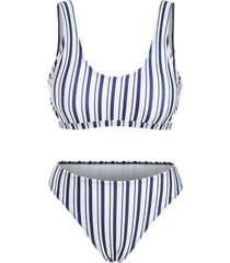 vertical striped side cutout bikini swimwear