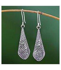silver dangle earrings, 'karen fantasy' (thailand)