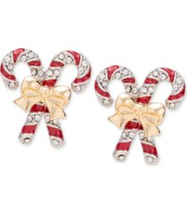 holiday lane two-tone pave candy cane stud earrings, created for macy's