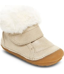 toddler girl's stride rite soft motion(tm) sophie faux fur bootie, size 6 m - metallic
