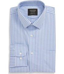 men's big & tall nordstrom men's shop smartcare(tm) trim fit check dress shirt, size 18 - 36/37 - blue