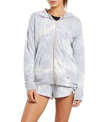 plus size women's volcom lil zip fleece hoodie, size x-large - grey