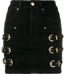 versace jeans couture buckle-embellished mini skirt - black