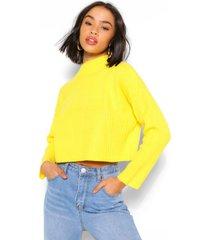 boxy rib knit sweater, yellow