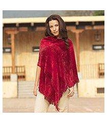 rayon chenille shawl, 'ruby roses' (guatemala)